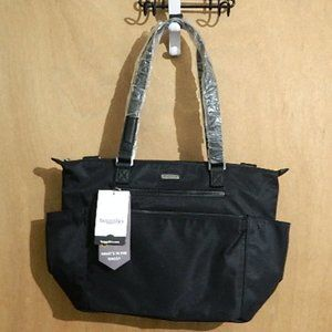 BAGGALLINI LARGE BOWERY EAST WEST TOTE BLACK NEW